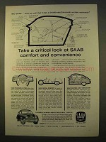 1963 Saab 96 Car Ad - Critical Look at Comfort