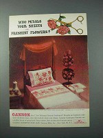 1963 Cannon Combspun Percales Sheets Ad - Who Petals?
