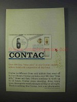 1963 Contac Capsules Ad - Over 600 Tiny Time Pills