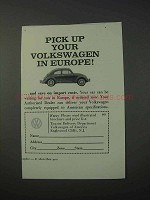 1963 Volkswagen Car Ad - Pick Up in Europe