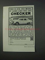 1963 Checker Car Ad - It Looks Like Our 1962
