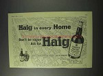 1959 Haig Scotch Ad - Haig in Every Home