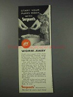 1959 Sergeant's Worm-Away Ad - Start Your Puppy Right
