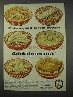 1959 Chiquita Banana Ad - Make a Good Cereal Better