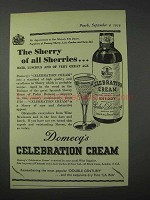 1959 Domecq's Celebration Cream Sherry Ad - The Sherry