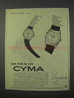 1959 Cyma Watch Ad - 124 and Navystar