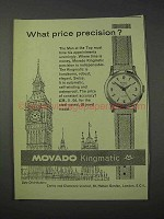 1959 Movado Kingmatic Watch Ad - Price Precision?