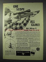 1958 Bausch & Lomb BALvar 8 Rifle Scope Ad - All Game