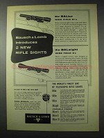 1958 Bausch & Lomb BALtur, BALeight Rifle Sights Ad