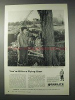1958 Homelite Chain Saw Ad - Off to a Flying Start
