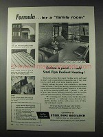 1958 Steel Pipe Research Ad - Formula for a Family Room