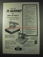 1958 AMF De Walt Model GW-1 Saw; Model MB-F Saw Ad