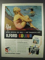 1958 Ilford Ad - Colour Film, Sportsman Camera