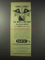 1958 Qantas Airline Ad - Fly West Fly East