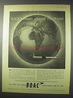 1958 BOAC Airways Ad - 1000 Routes Around the World
