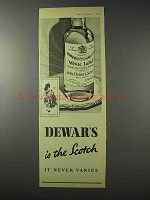 1958 Dewars Scotch Ad - The Scotch It Never Varies
