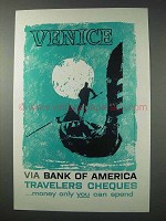 1958 Bank of America Travelers Cheques Ad - Venice