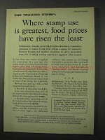 1958 S&H Green Stamps Ad - Food Prices Risen Least