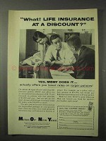 1958 Mutual of New York MONY Insurance Ad - A Discount