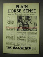 1958 Allstate Insurance Ad - Plain Horse Sense