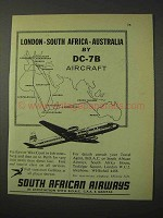 1958 South African Airways Ad - By DC-7B Aircraft