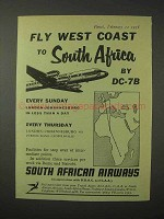 1958 South African Airways Ad - Fly West Coast