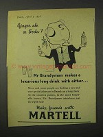 1958 Martell Cognac Ad - Ginger Ale or Soda?
