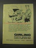 1958 Girling Parts Service Ad - Travellers' Checks