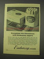 1958 Embassy Cigars Ad - Complete His Christmas