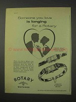 1958 Rotary Watch Ad - Golden Dream; Marquise