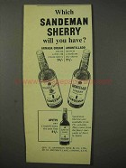 1958 Sandeman Sherry Ad - Which Will You Have?