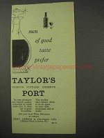 1958 Taylor's Port Ad - Men of Good Taste Prefer