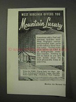 1958 West Virgnia Tourism Ad - Mountain Luxury