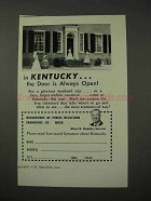 1958 Kentucky Tourism Ad - The Door is Always Open