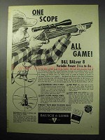 1958 Bausch & Lomb BALvar 8 Scope Ad - All Game