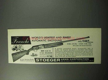 1958 Franchi Automatic Shotgun Ad - World's Lightest