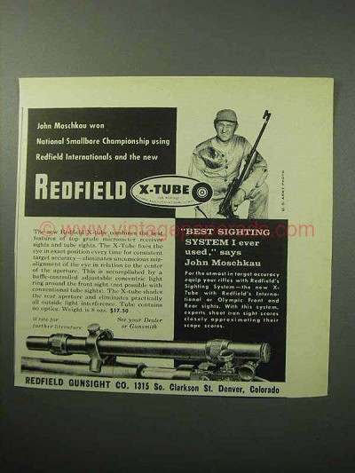 1958 Redfield X-Tube Sighting System Ad - John Moschkau