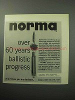 1958 Norma Bullets Ad - 60 Years Ballistic Progress