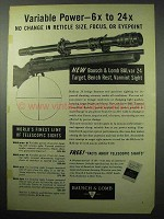 1956 Bausch & Lomb BALvar 24 Scope Ad - Variable Power