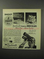 1956 Bushnell Telephoto Binoculars Ad - Shoot a Tiger