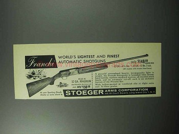 1957 Franchi Automatic Shotgun Ad - Lightest and Finest