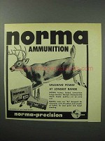 1957 Norma Ammunition Ad - Smashing Power