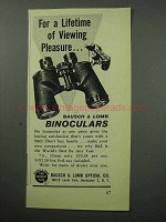 1957 Bausch & Lomb Binoculars Ad - Viewing Pleasure