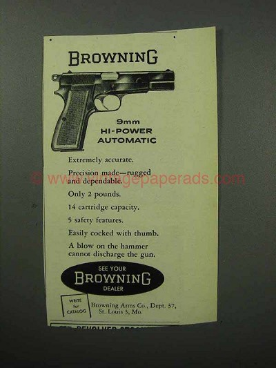 1957 Browning 9mm Hi-Power Automatic Pistol Ad