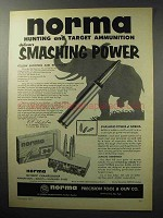 1955 Norma .30-06 Ammunition Ad - Smashing Power