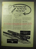 1955 Bausch & Lomb Hunting Sight Ad - Pass This Test