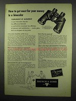 1954 Bausch & Lomb Binocular Ad - Most for Your Money