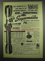 1954 Bushnell Scopemaster Scope Ad - Premium Quality
