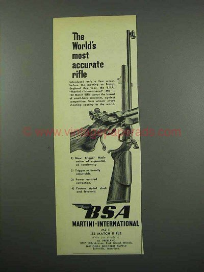 1954 BSA Martini International Mark II Rifle Ad