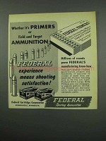 1954 Federal Primers and Ammunition Ad - Field, Target